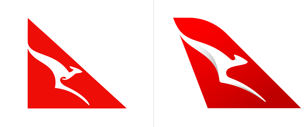 The 2007 Qantas logo vs the 2016 Qantas logo